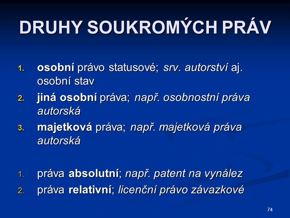 74 DRUHY SOUKROMÝCH PRÁV 1.osobní právo statusové; srv.