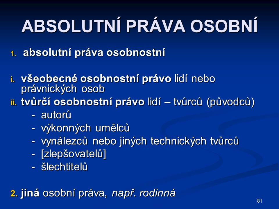 81 ABSOLUTNÍ PRÁVA OSOBNÍ 1. absolutní práva osobnostní i.