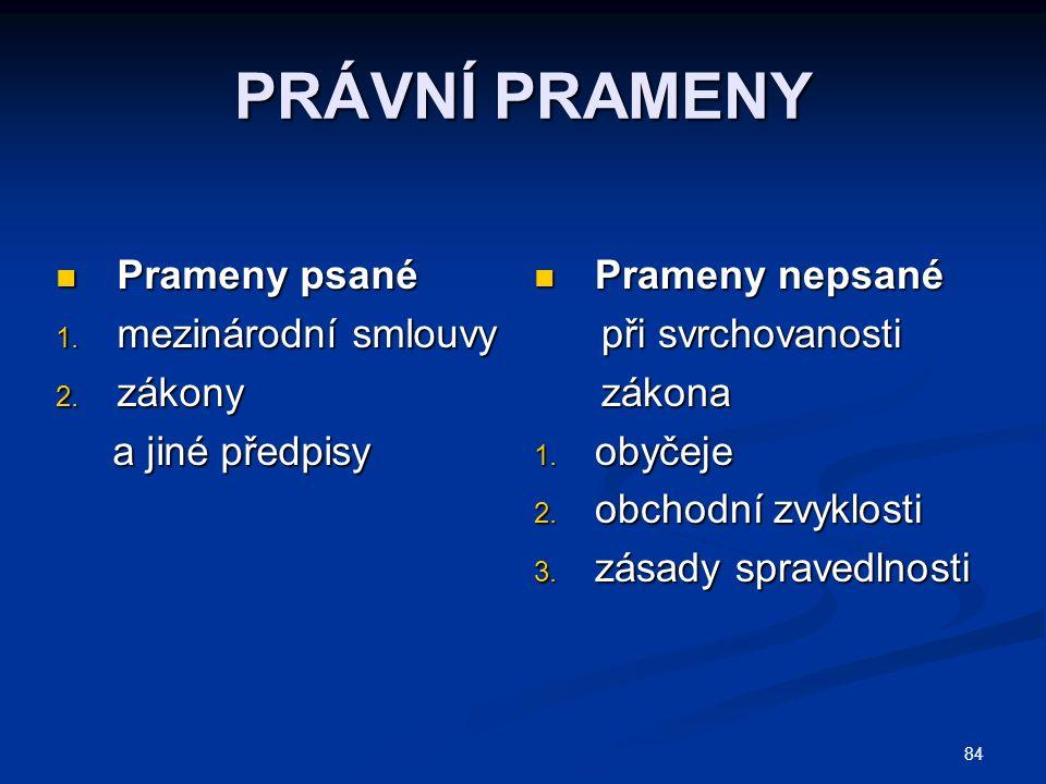 84 PRÁVNÍ PRAMENY Prameny psané Prameny psané 1.mezinárodní smlouvy 2.
