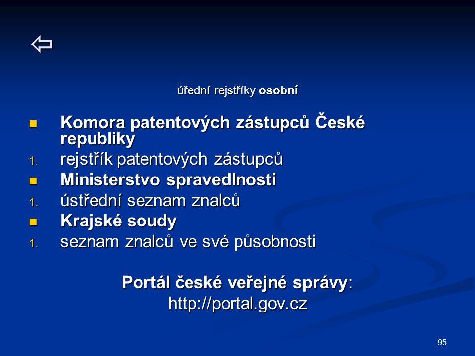 95  úřední rejstříky osobní Komora patentových zástupců České republiky Komora patentových zástupců České republiky 1.