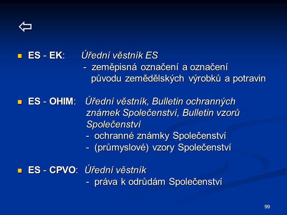 99  ES - EK: Úřední věstník ES ES - EK: Úřední věstník ES - zeměpisná označení a označení - zeměpisná označení a označení původu zemědělských výrobků a potravin původu zemědělských výrobků a potravin ES - OHIM: Úřední věstník, Bulletin ochranných ES - OHIM: Úřední věstník, Bulletin ochranných známek Společenství, Bulletin vzorů známek Společenství, Bulletin vzorů Společenství Společenství - ochranné známky Společenství - ochranné známky Společenství - (průmyslové) vzory Společenství - (průmyslové) vzory Společenství ES - CPVO: Úřední věstník ES - CPVO: Úřední věstník - práva k odrůdám Společenství - práva k odrůdám Společenství