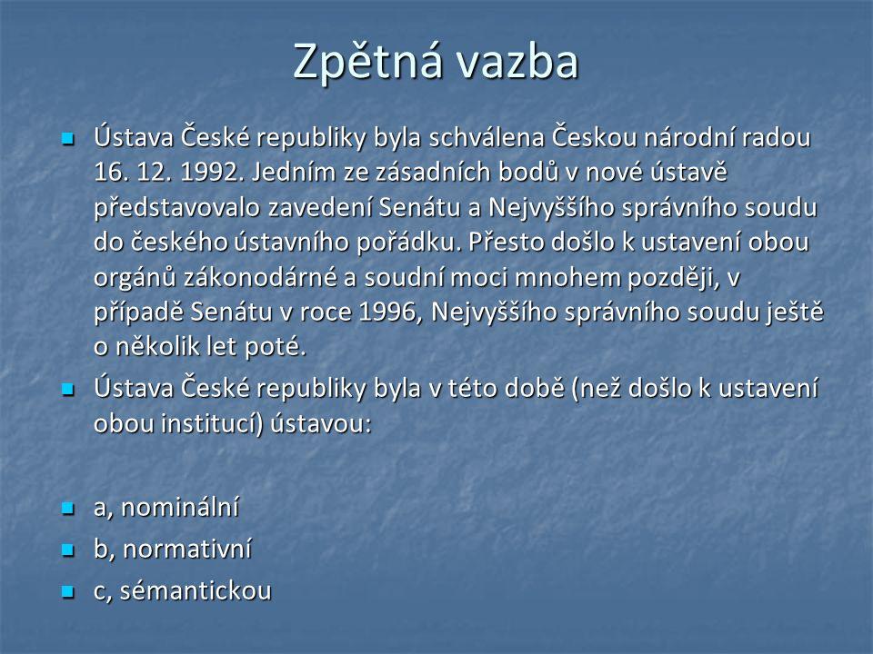 Zpětná vazba Ústava České republiky byla schválena Českou národní radou 16.