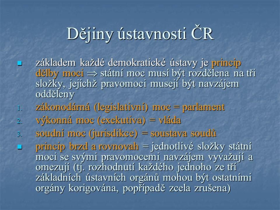 Dějiny ústavnosti ČR základem každé demokratické ústavy je princip dělby moci  státní moc musí být rozdělena na tři složky, jejichž pravomoci musejí být navzájem odděleny základem každé demokratické ústavy je princip dělby moci  státní moc musí být rozdělena na tři složky, jejichž pravomoci musejí být navzájem odděleny 1.