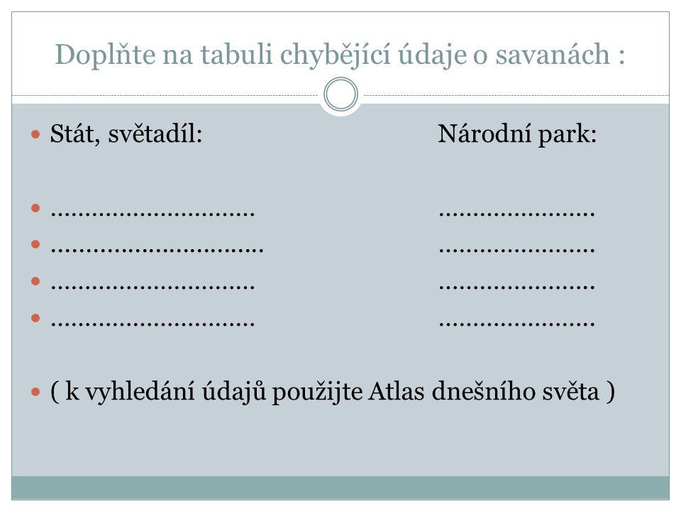 Doplňte na tabuli chybějící údaje o savanách : Stát, světadíl:Národní park: …………………………………………….................................…………………..