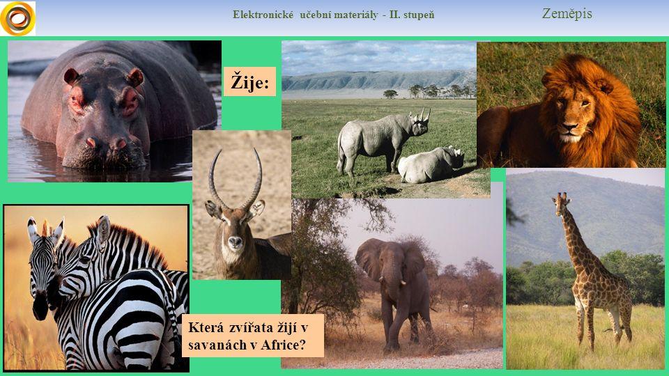 Elektronické učební materiály - II. stupeň Zeměpis Žije: Která zvířata žijí v savanách v Africe