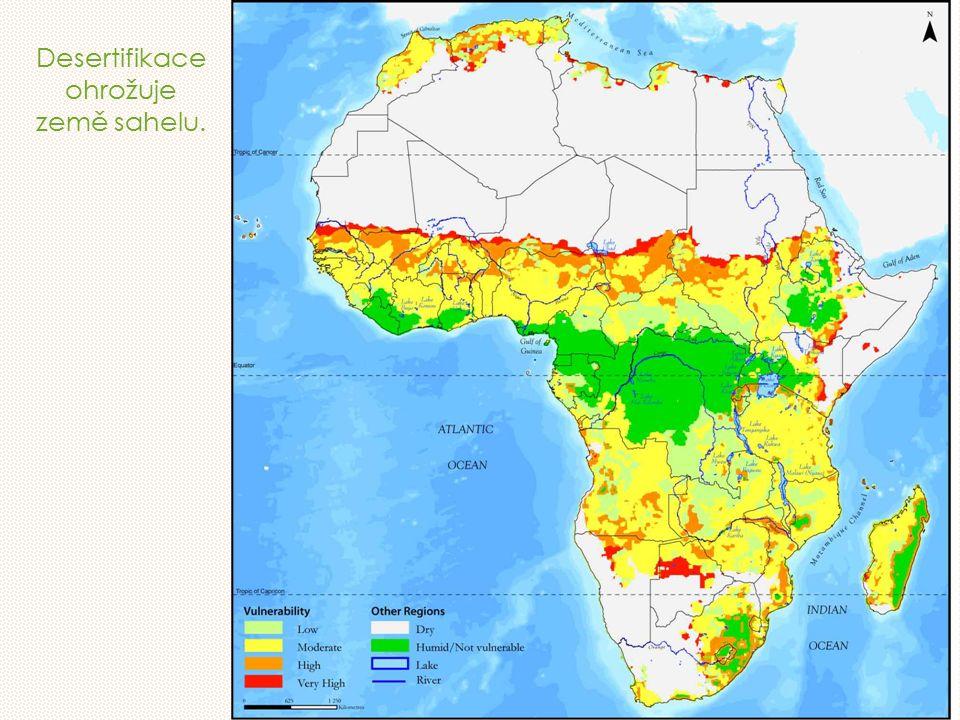 Desertifikace ohrožuje země sahelu.