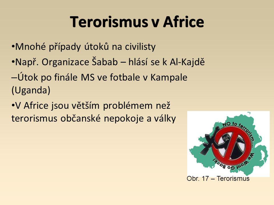 Terorismus v Africe Mnohé případy útoků na civilisty Např. Organizace Šabab – hlásí se k Al-Kajdě – Útok po finále MS ve fotbale v Kampale (Uganda) V