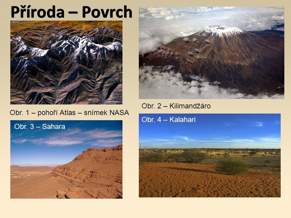 Příroda – Povrch Obr. 1 – pohoří Atlas – snímek NASA Obr. 2 – Kilimandžáro Obr. 3 – Sahara Obr. 4 – Kalahari