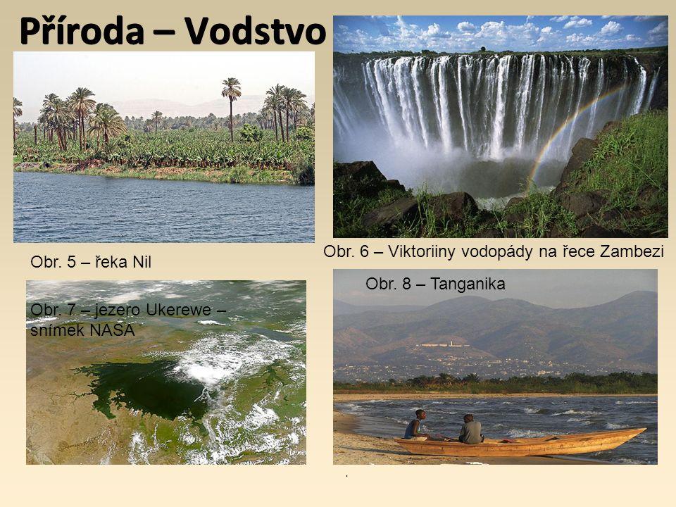 Příroda – Vodstvo Obr. 5 – řeka Nil Obr. 6 – Viktoriiny vodopády na řece Zambezi Obr. 7 – jezero Ukerewe – snímek NASA Obr. 8 – Tanganika.