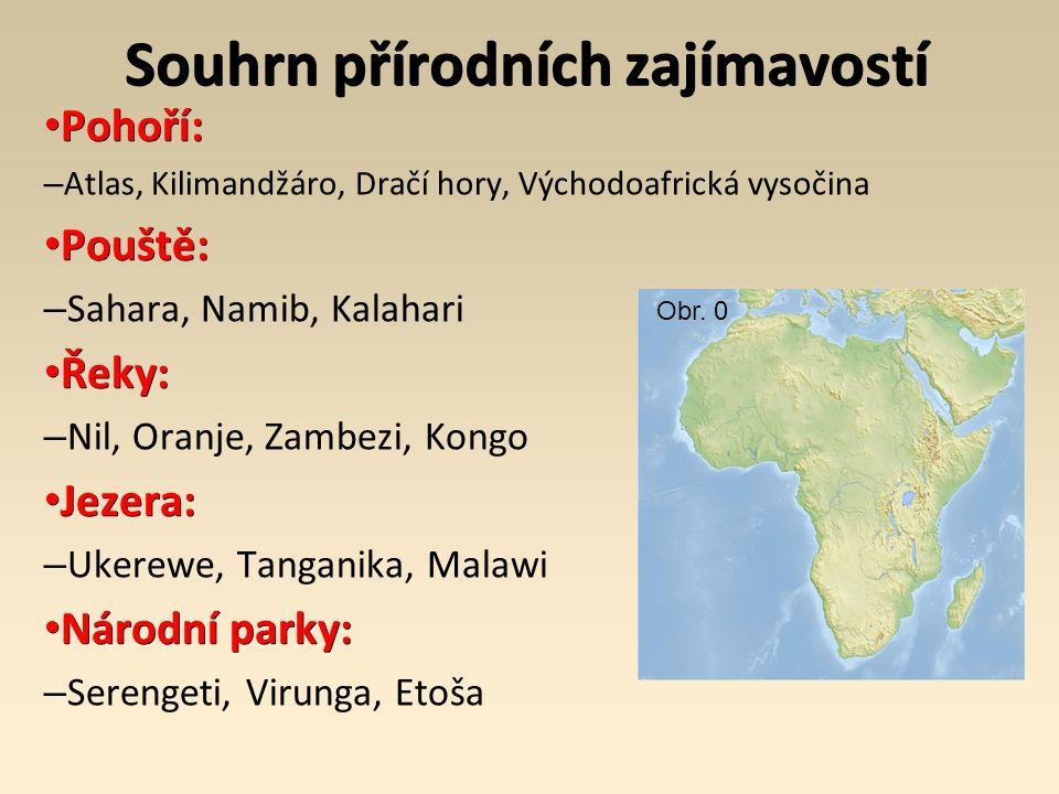 Souhrn přírodních zajímavostí Pohoří: Pohoří: – Atlas, Kilimandžáro, Dračí hory, Východoafrická vysočina Pouště: Pouště: – Sahara, Namib, Kalahari Řeky: Řeky: – Nil, Oranje, Zambezi, Kongo Jezera: Jezera: – Ukerewe, Tanganika, Malawi Národní parky: Národní parky: – Serengeti, Virunga, Etoša Obr.