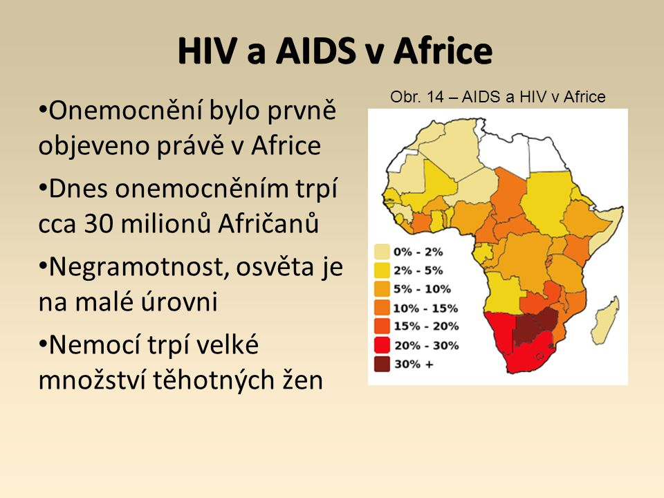 HIV a AIDS v Africe Onemocnění bylo prvně objeveno právě v Africe Dnes onemocněním trpí cca 30 milionů Afričanů Negramotnost, osvěta je na malé úrovni Nemocí trpí velké množství těhotných žen Obr.