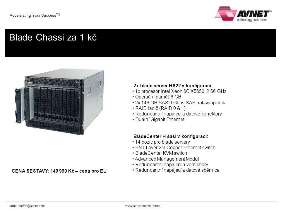 www.avnet.com/ts/emea Accelerating Your Success TM Blade Chassi za 1 kč ludek.steffel@avnet.com 2x blade server HS22 v konfiguraci: 1x procesor Intel Xeon 6C X5650, 2.66 GHz Operační paměť 6 GB 2x 146 GB SAS 6 Gbps SAS hot-swap disk RAID řadič (RAID 0 & 1) Redundantní napájecí a datové konektory Duální Gigabit Ethernet BladeCenter H šasi v konfiguraci: 14 pozic pro blade servery BNT Layer 2/3 Copper Ethernet switch BladeCenter KVM switch Advanced Management Modul Redundantní napájení a ventilátory Redundantní napájecí a datové sběrnice CENA SESTAVY: 149 990 Kč – cena pro EU