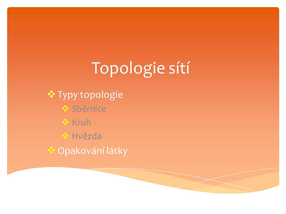 Topologie sítí  Typy topologie  Sběrnice  Kruh  Hvězda  Opakování látky