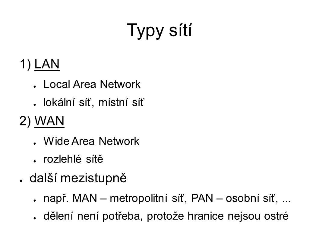 Typy sítí 1) LAN ● Local Area Network ● lokální síť, místní síť 2) WAN ● Wide Area Network ● rozlehlé sítě ● další mezistupně ● např.