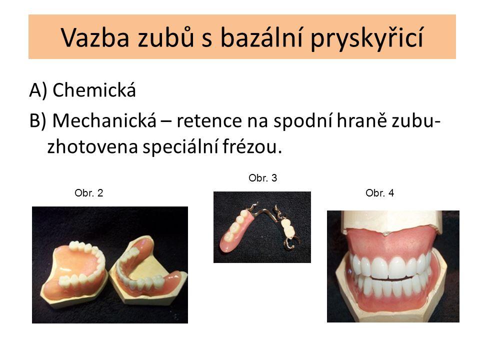 Vazba zubů s bazální pryskyřicí A) Chemická B) Mechanická – retence na spodní hraně zubu- zhotovena speciální frézou. Obr. 2 Obr. 3 Obr. 4