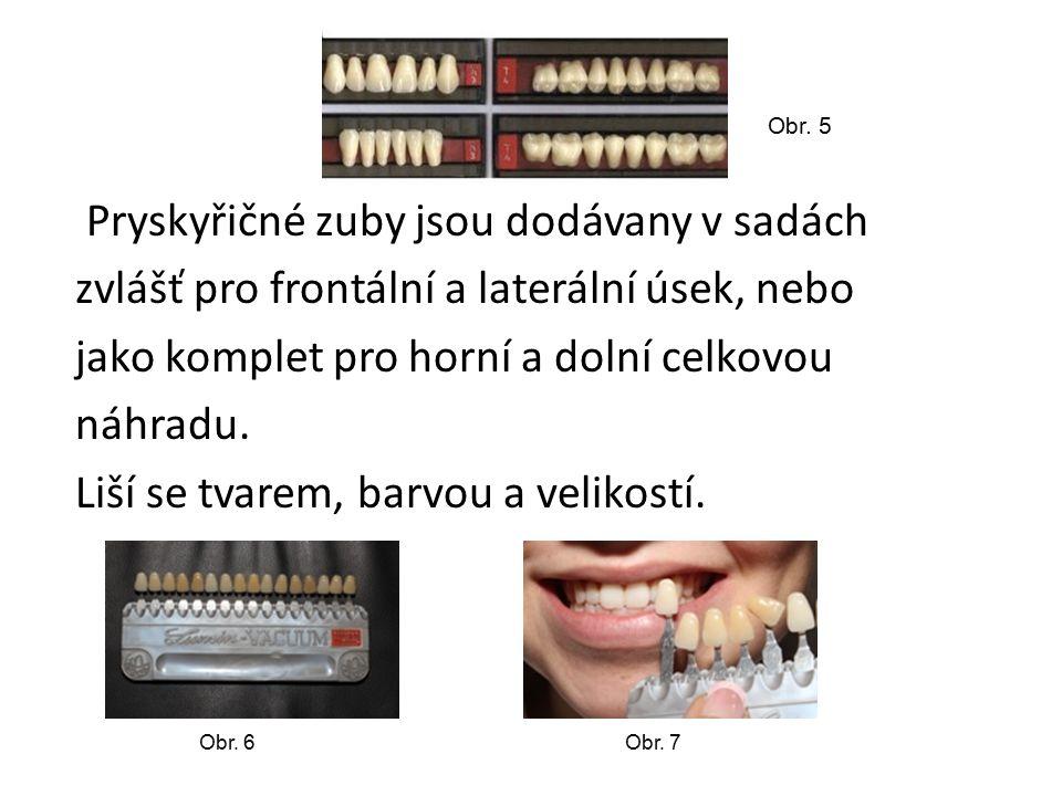 Pryskyřičné zuby jsou dodávany v sadách zvlášť pro frontální a laterální úsek, nebo jako komplet pro horní a dolní celkovou náhradu. Liší se tvarem, b