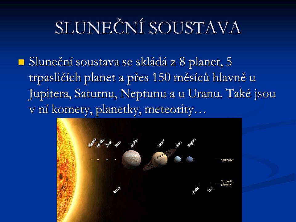 SLUNEČNÍ SOUSTAVA Sluneční soustava se skládá z 8 planet, 5 trpasličích planet a přes 150 měsíců hlavně u Jupitera, Saturnu, Neptunu a u Uranu.