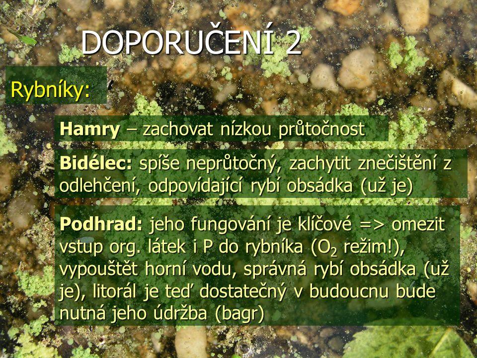 DOPORUČENÍ 2 Rybníky: Hamry – zachovat nízkou průtočnost Bidélec: spíše neprůtočný, zachytit znečištění z odlehčení, odpovídající rybí obsádka (už je) Podhrad: jeho fungování je klíčové => omezit vstup org.