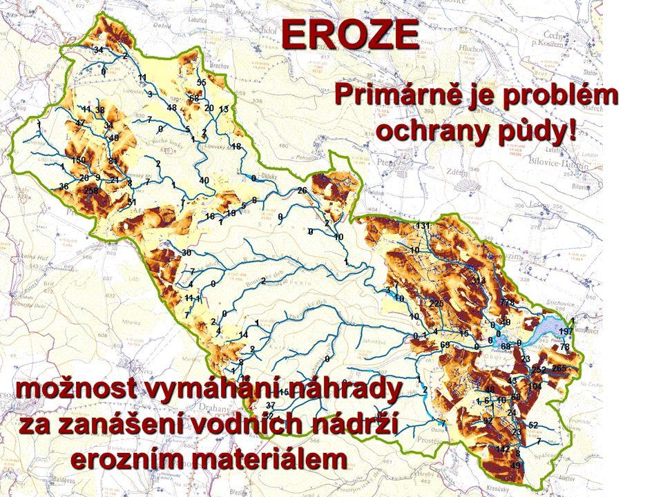 EROZE Primárně je problém ochrany půdy! možnost vymáhání náhrady za zanášení vodních nádrží erozním materiálem