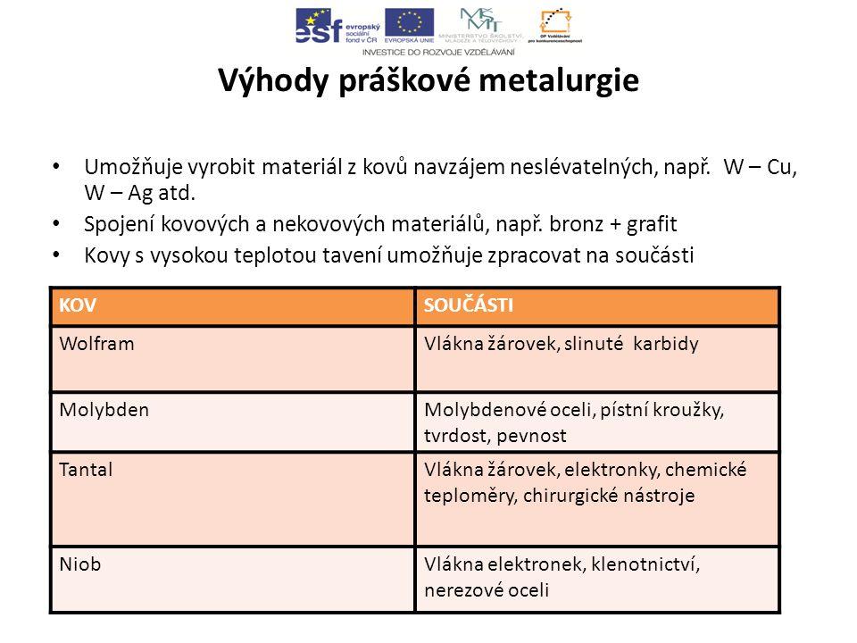 Výhody práškové metalurgie Umožňuje vyrobit materiál z kovů navzájem neslévatelných, např.