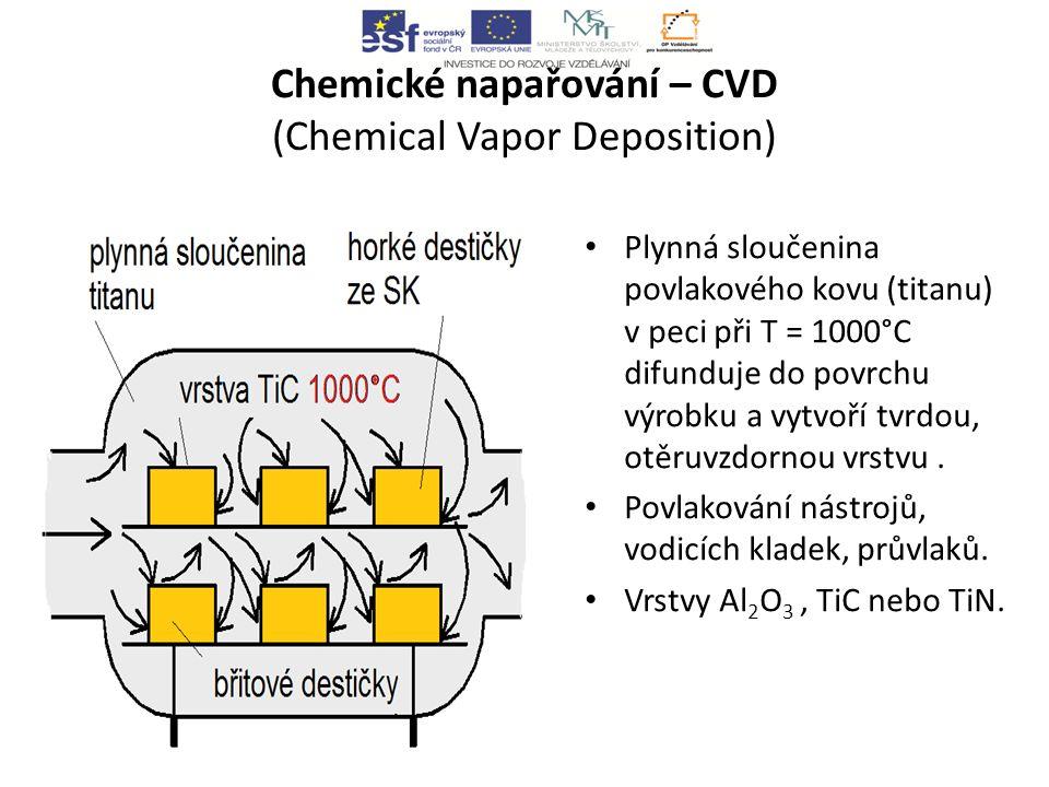 Chemické napařování – CVD (Chemical Vapor Deposition) Plynná sloučenina povlakového kovu (titanu) v peci při T = 1000°C difunduje do povrchu výrobku a vytvoří tvrdou, otěruvzdornou vrstvu.