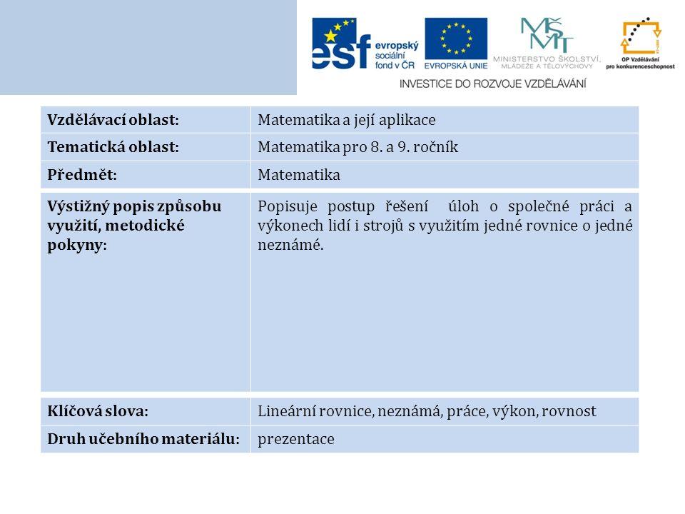 Vzdělávací oblast:Matematika a její aplikace Tematická oblast:Matematika pro 8.
