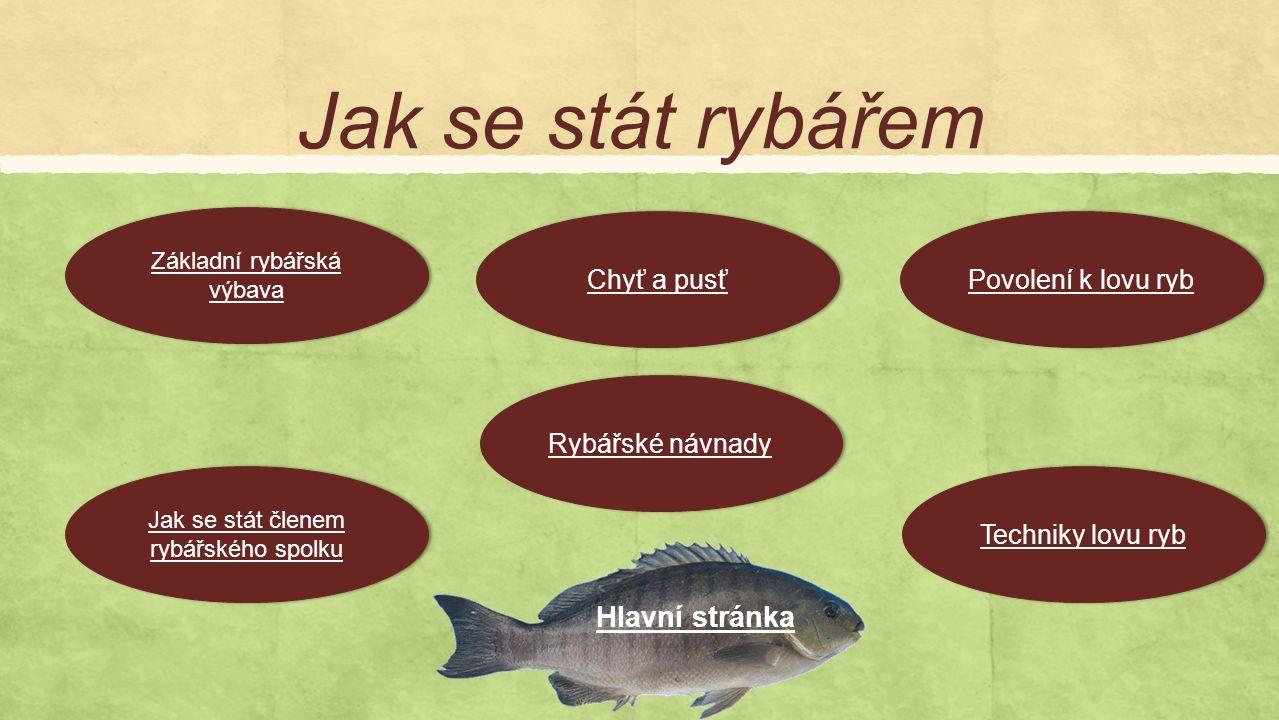 Jak se stát rybářem Jak se stát členem rybářského spolku Jak se stát členem rybářského spolku Základní rybářská výbava Základní rybářská výbava Chyť a pusť Rybářské návnady Povolení k lovu ryb Techniky lovu ryb Hlavní stránka