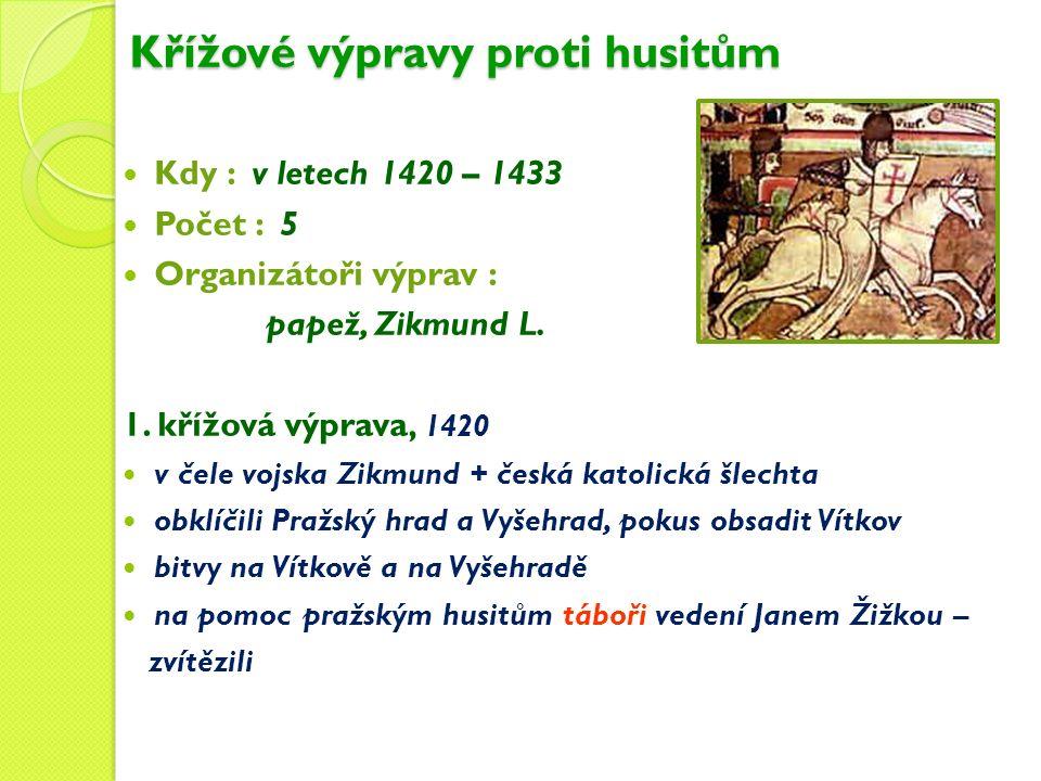 Křížové výpravy proti husitům Kdy : v letech 1420 – 1433 Počet : 5 Organizátoři výprav : papež, Zikmund L.