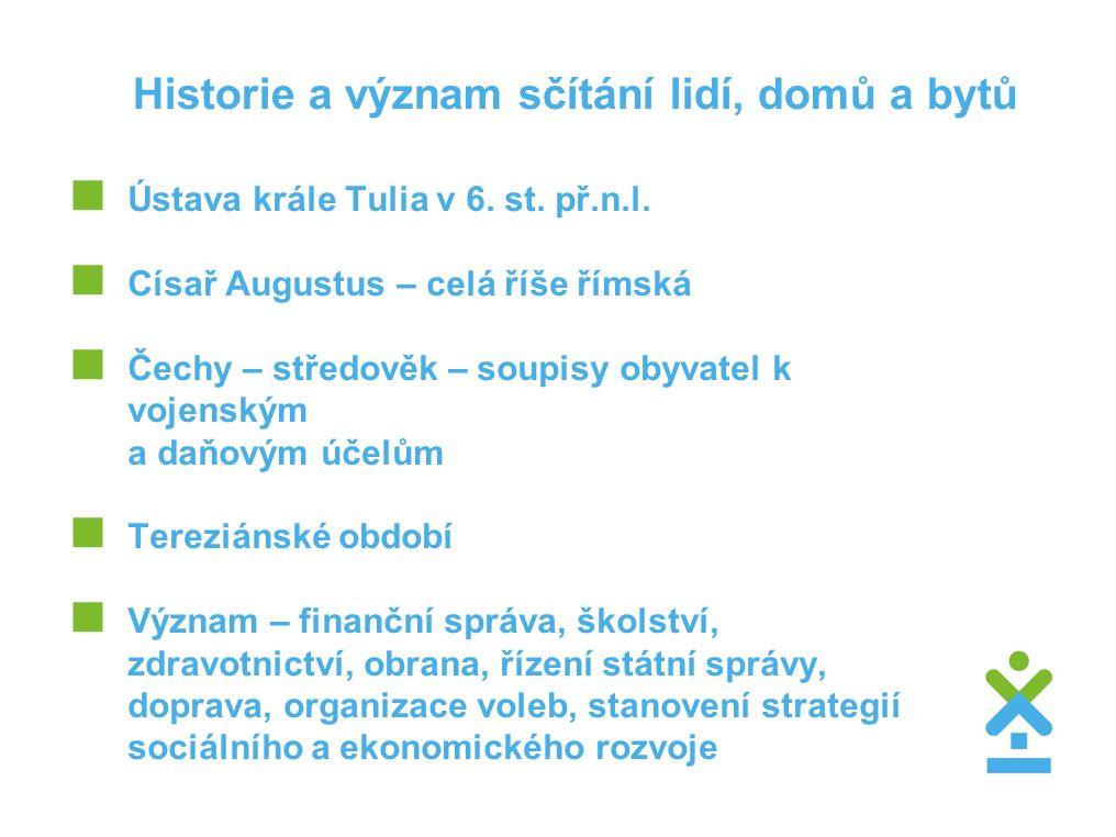 Historie a význam sčítání lidí, domů a bytů  Ústava krále Tulia v 6.