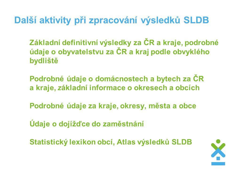 Další aktivity při zpracování výsledků SLDB Základní definitivní výsledky za ČR a kraje, podrobné údaje o obyvatelstvu za ČR a kraj podle obvyklého by
