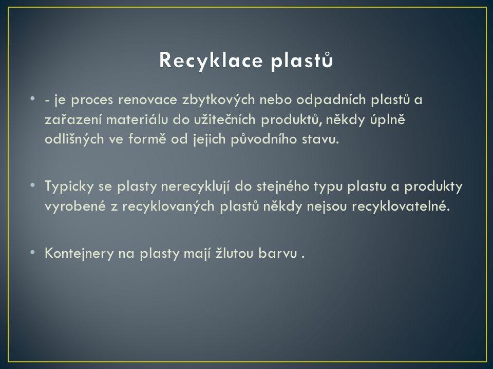 - je specializovaný technologický proces, kterým se již (nejméně jednou) vyrobené a použité sklo vrací zpět do výroby skla nebo do výroby jiných materiálů vyrobitelných ze skla.
