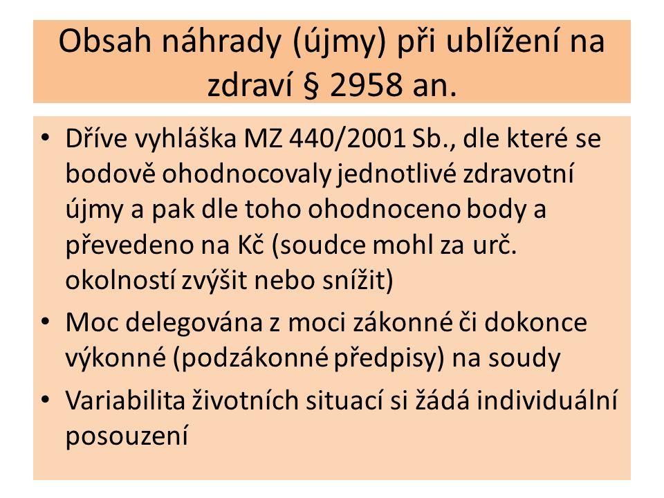Obsah náhrady (újmy) při ublížení na zdraví § 2958 an. Dříve vyhláška MZ 440/2001 Sb., dle které se bodově ohodnocovaly jednotlivé zdravotní újmy a pa