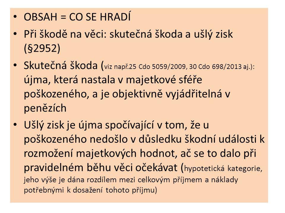 OBSAH = CO SE HRADÍ Při škodě na věci: skutečná škoda a ušlý zisk (§2952) Skutečná škoda ( viz např.25 Cdo 5059/2009, 30 Cdo 698/2013 aj.): újma, kter