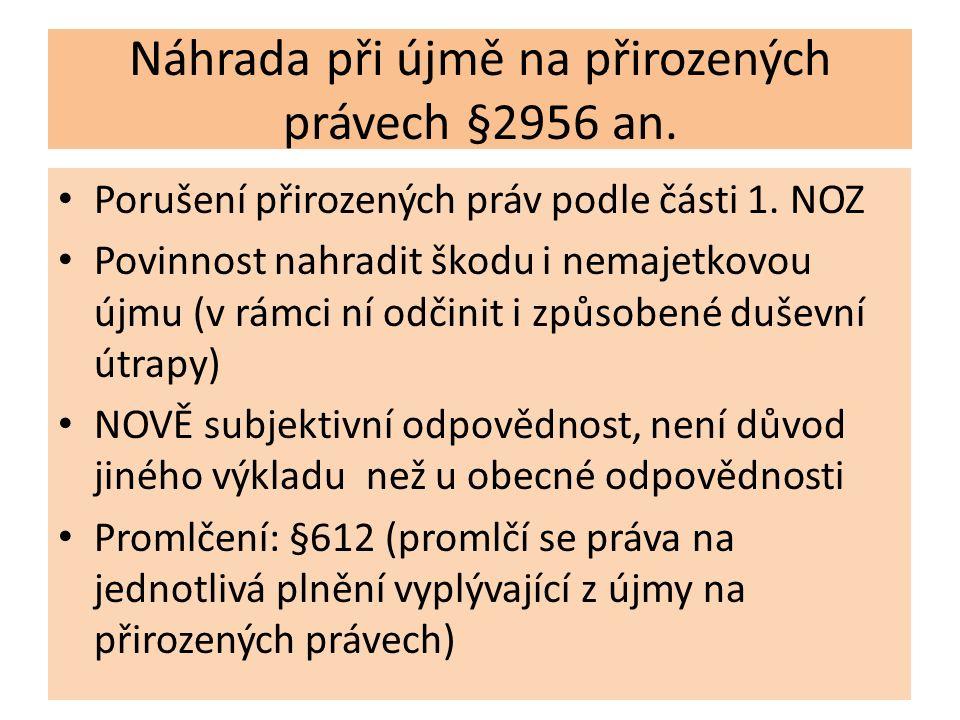 Náhrada při újmě na přirozených právech §2956 an. Porušení přirozených práv podle části 1.