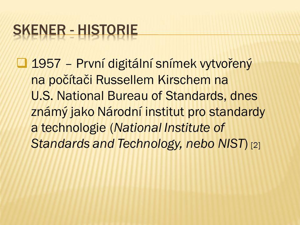  1957 – První digitální snímek vytvořený na počítači Russellem Kirschem na U.S. National Bureau of Standards, dnes známý jako Národní institut pro st