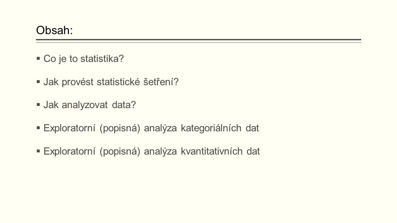 Obsah:  Co je to statistika. Jak provést statistické šetření.