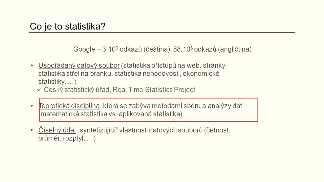 Co je to statistika.