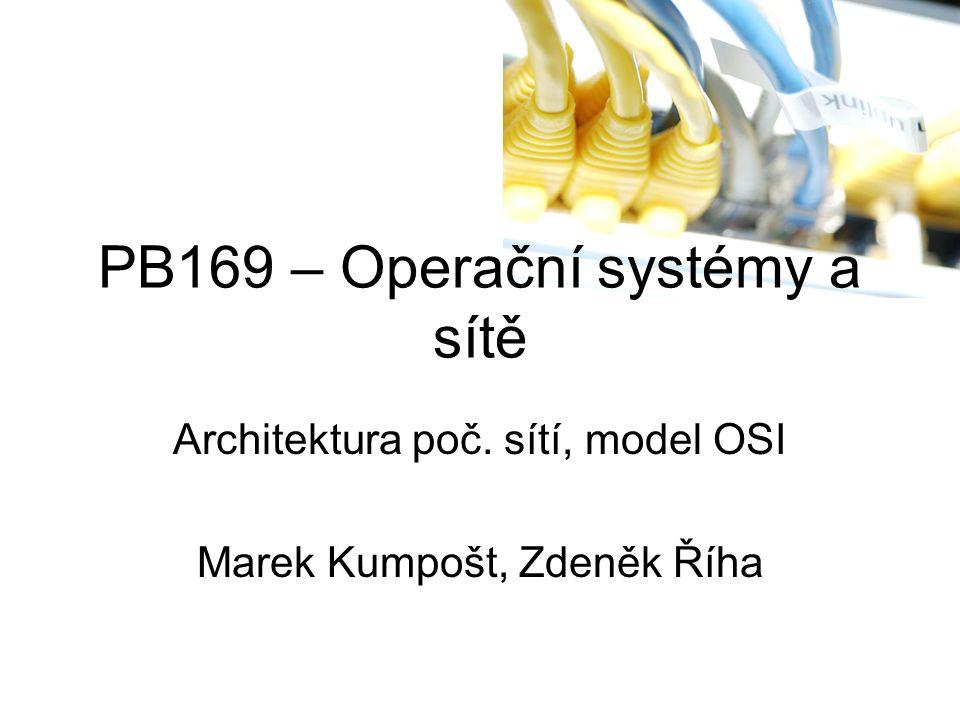 PB169 – Operační systémy a sítě Architektura poč. sítí, model OSI Marek Kumpošt, Zdeněk Říha