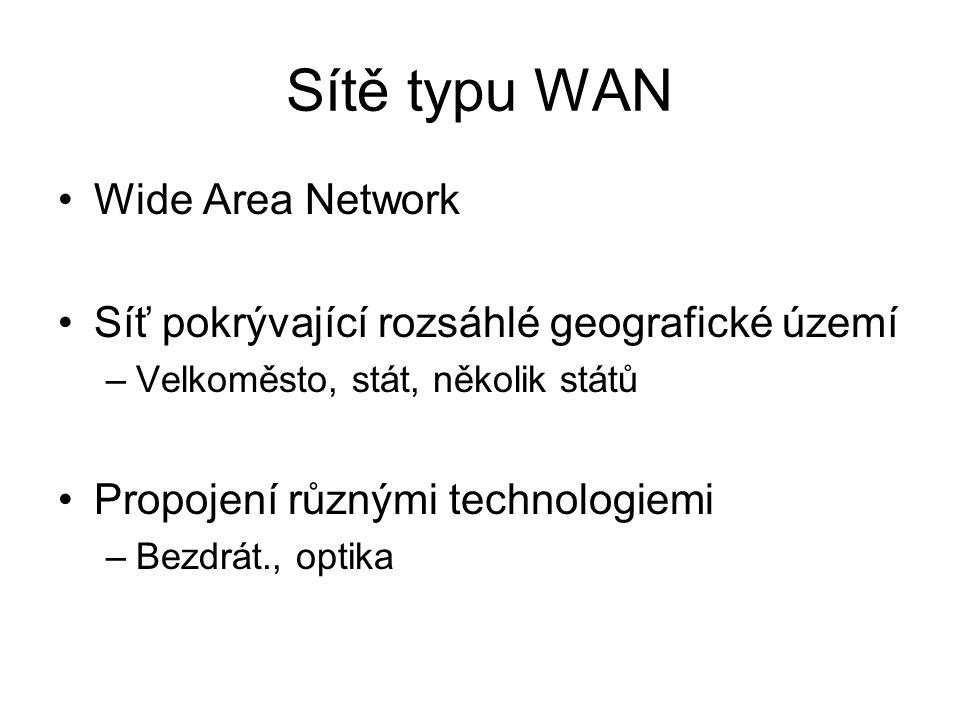 Sítě typu WAN Wide Area Network Síť pokrývající rozsáhlé geografické území –Velkoměsto, stát, několik států Propojení různými technologiemi –Bezdrát.,