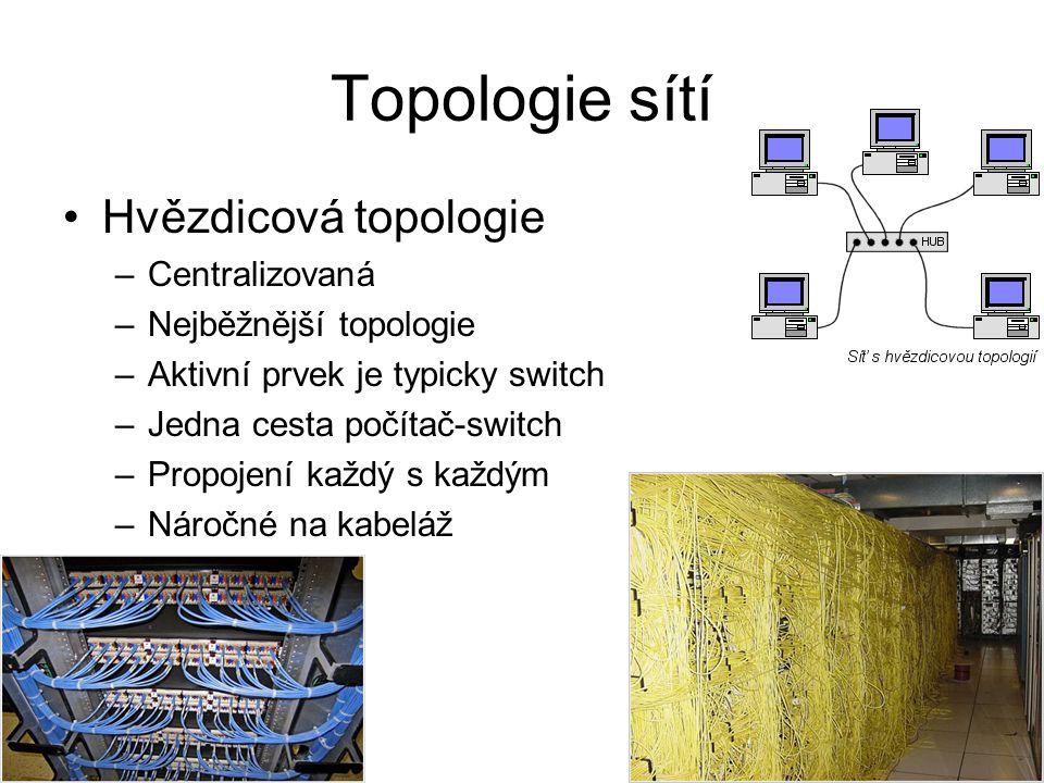 Topologie sítí Hvězdicová topologie –Centralizovaná –Nejběžnější topologie –Aktivní prvek je typicky switch –Jedna cesta počítač-switch –Propojení každý s každým –Náročné na kabeláž