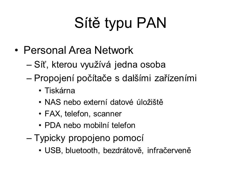 Sítě typu PAN Personal Area Network –Síť, kterou využívá jedna osoba –Propojení počítače s dalšími zařízeními Tiskárna NAS nebo externí datové úložiště FAX, telefon, scanner PDA nebo mobilní telefon –Typicky propojeno pomocí USB, bluetooth, bezdrátově, infračerveně