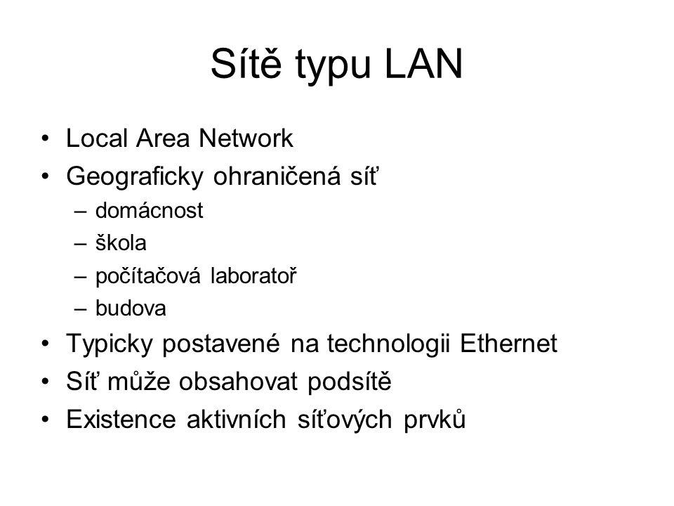 Sítě typu LAN Local Area Network Geograficky ohraničená síť –domácnost –škola –počítačová laboratoř –budova Typicky postavené na technologii Ethernet Síť může obsahovat podsítě Existence aktivních síťových prvků