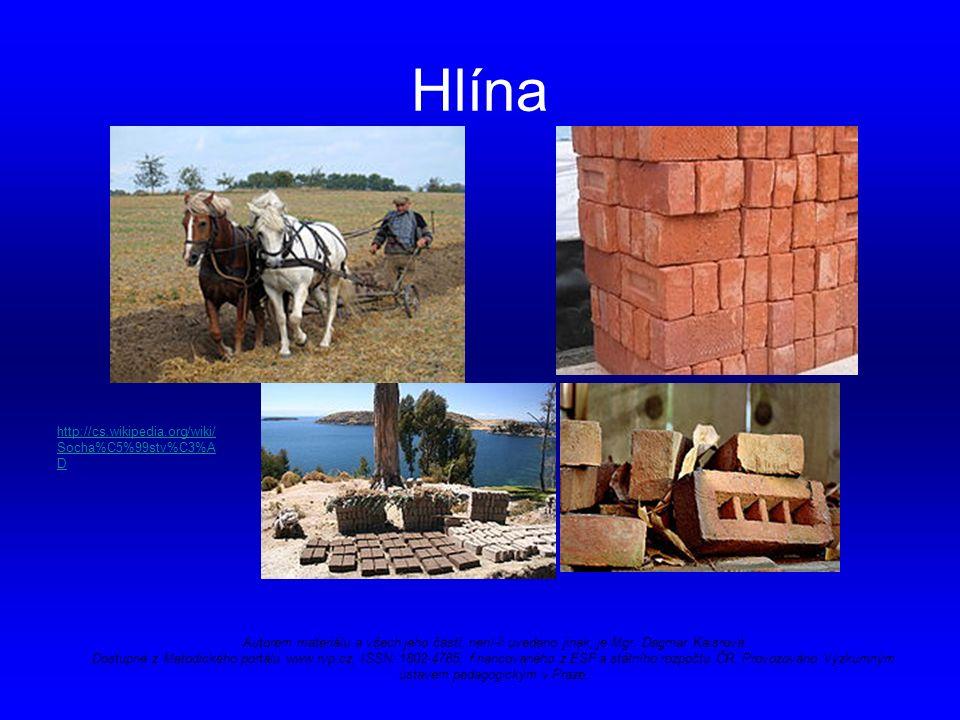 Hlína http://cs.wikipedia.org/wiki/ Socha%C5%99stv%C3%A D Autorem materiálu a všech jeho částí, není-li uvedeno jinak, je Mgr.