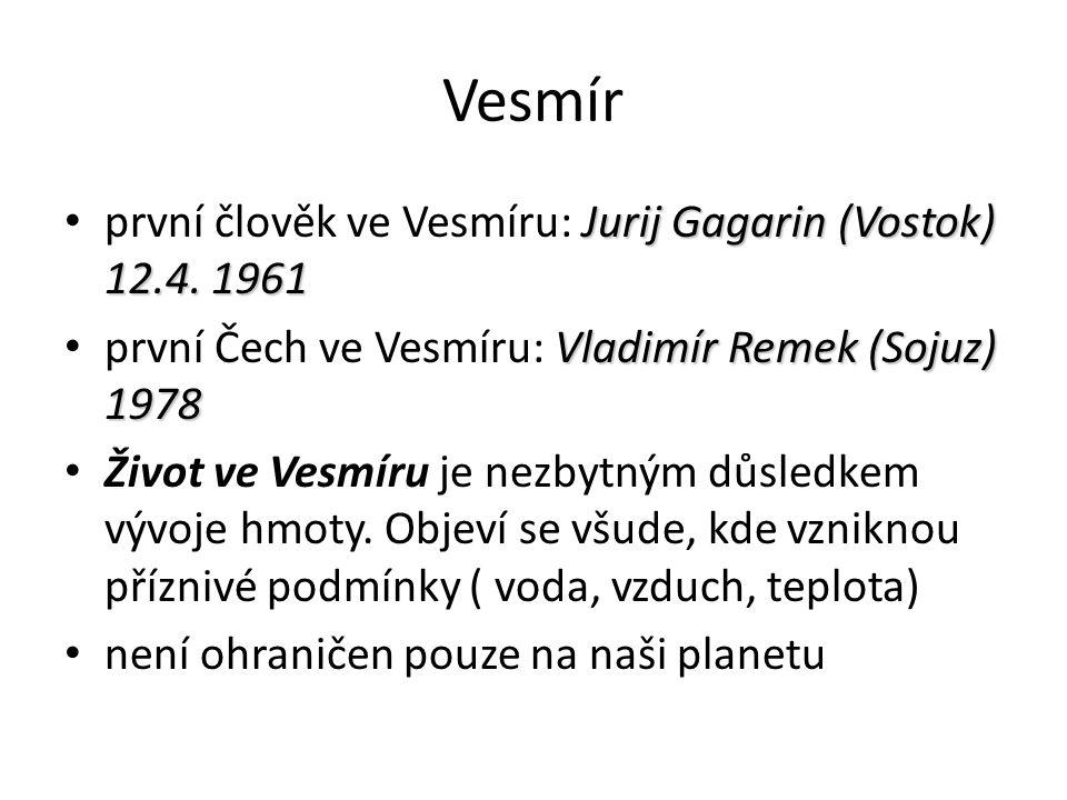 Vesmír Jurij Gagarin (Vostok) 12.4. 1961 první člověk ve Vesmíru: Jurij Gagarin (Vostok) 12.4.