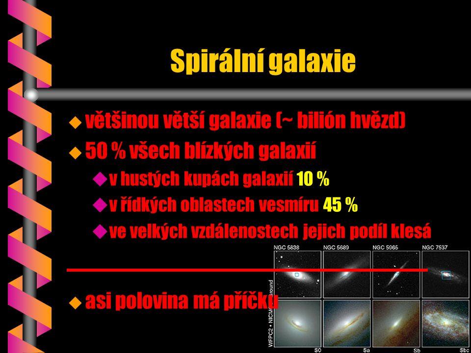 Spirální galaxie u u většinou větší galaxie (~ bilión hvězd) u u 50 % všech blízkých galaxií u uv hustých kupách galaxií 10 % u uv řídkých oblastech vesmíru 45 % u uve velkých vzdálenostech jejich podíl klesá u asi polovina má příčku