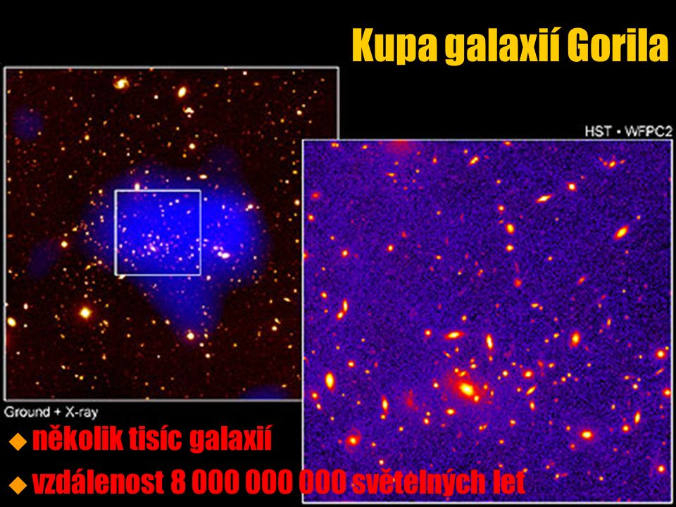 Kupa galaxií Gorila u u několik tisíc galaxií u u vzdálenost 8 000 000 000 světelných let