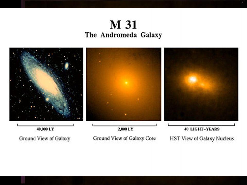 u u typ Sb u u v souhvězdí Andromedy u u vzdálenost: 2900 000 světelných let u u průměr 150 000 světelných let u u asi 300 biliónů hvězd u u v centru černá díra o hmotnosti 30 milionů Sluncí M31 (NGC 224) M110 M32 M31 střed M31 v rentgenovém oboru