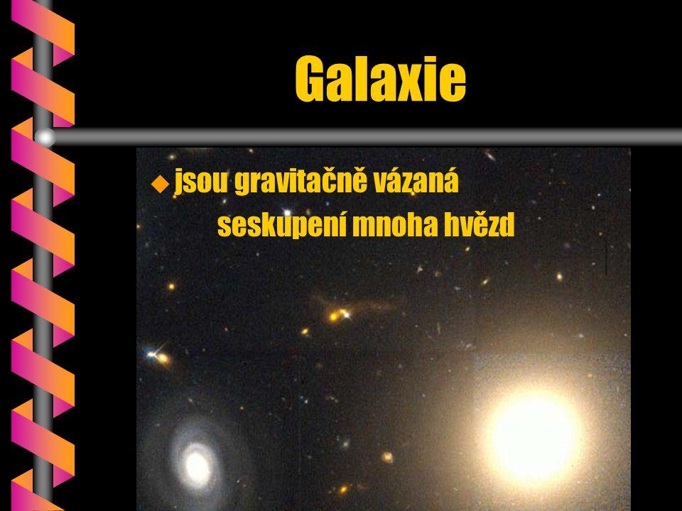 Galaxie   jsou gravitačně vázaná seskupení mnoha hvězd
