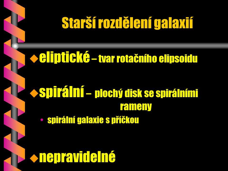 Starší rozdělení galaxií   eliptické – tvar rotačního elipsoidu u u spirální – plochý disk se spirálními rameny spirální galaxie s příčkou u u nepravidelné