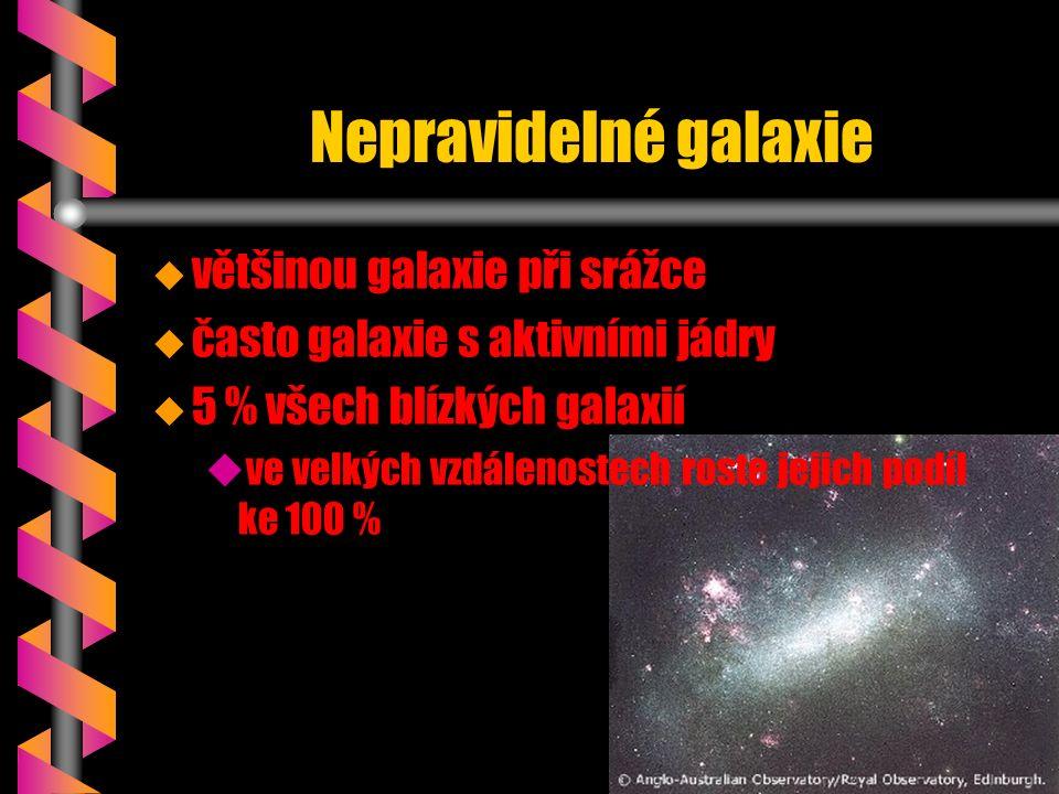 Nepravidelné galaxie u u většinou galaxie při srážce u u často galaxie s aktivními jádry u u 5 % všech blízkých galaxií u uve velkých vzdálenostech roste jejich podíl ke 100 %